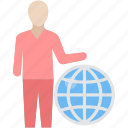 bank, business, earth, employee, planet, representative, world icon
