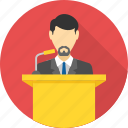 communication, conversation, lecture, mic, mike, podium, speech icon