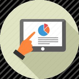 analysis, analytics, computer, graph, presentation, statistics, tablet icon
