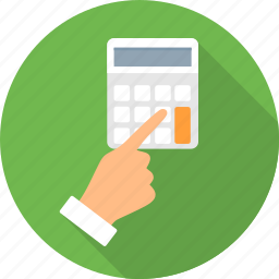 calculator, computation, finger, gesture, hand, touch icon