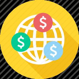 earn, earnings, finance, global, income, international, money icon