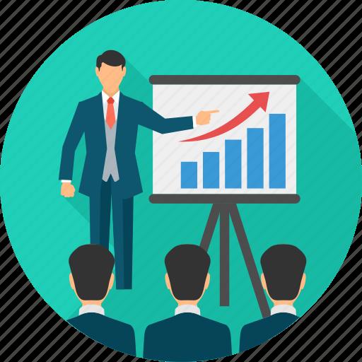 board, business, explain, explaination, meeting, presentation, report icon