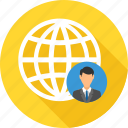bank, business, employee, global, location, representative, world icon