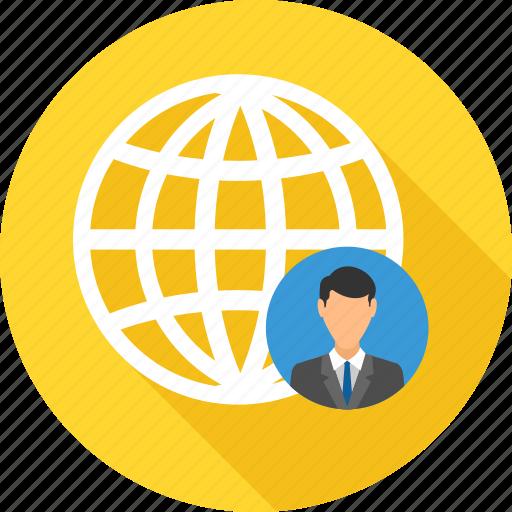 bank, business, employee, global, location, representative, world icon
