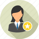achievement, badge, best, business, employee, star, woman icon