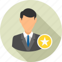 achievement, badge, best, business, employee, male, star icon