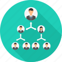 business, connection, group, hierarchy, marketing, office, team icon