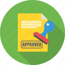 approved, contract, deal, document, paper icon