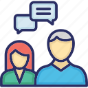 communication, consulting, conversation, deliberation, discussion icon