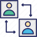 account, employee exchange, employee transfer, replacement, user transfer icon