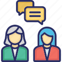 communication, consulting, conversation, deliberation, discussion icon