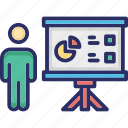statistics, business chart, business meeting, presentation, trend analysis icon