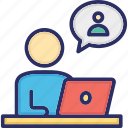 video communication, video conversation, online meeting, video calling, live chat icon