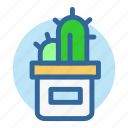 cactus, decoration, desk, office, plant, room, work icon