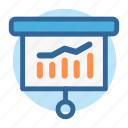 analytics, business, chart, office, presentation, room, work icon