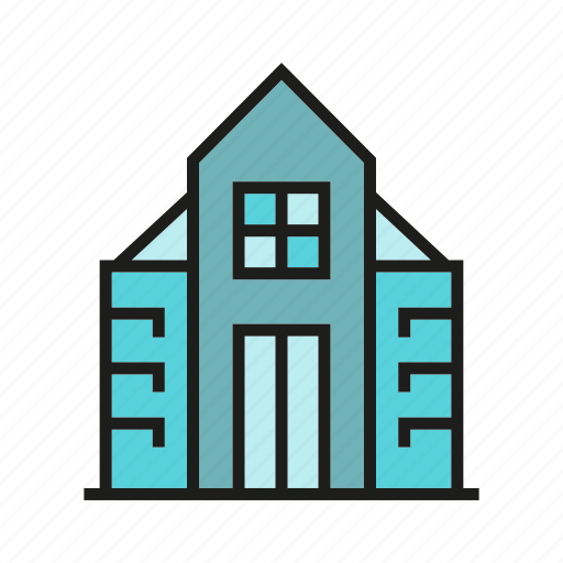 building, edifice, home, house, office, structure, tower icon