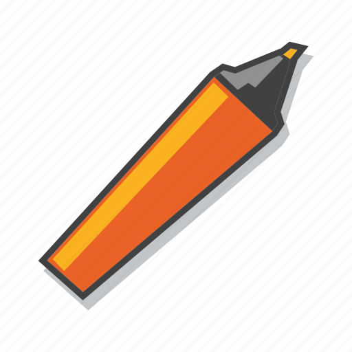 highlighter, marker pen, school supplies icon
