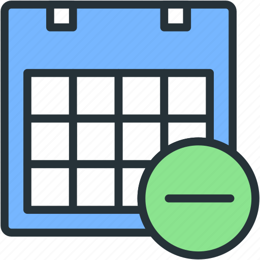 calendar, office, remove, work icon