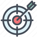aim, bullseye, darts, office, purpose, strategy, target icon