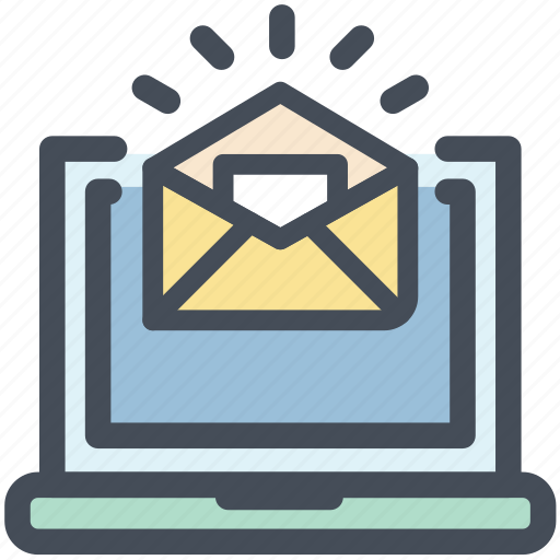 email, envelope, laptop, letter, news, office, screen icon