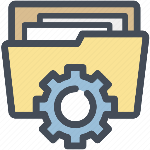 directory, documents, files, folder, gear, options, settings icon