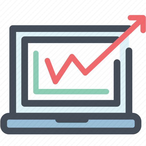 analytics, graph, laptop, market, office, report, research icon
