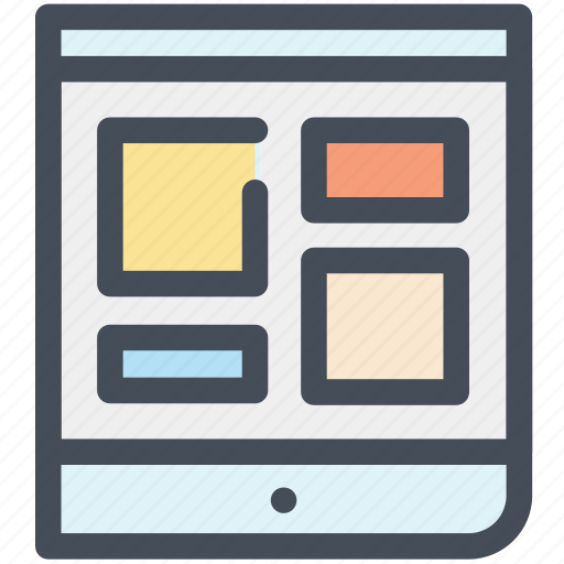 application, ipad, layout, office, screen, tablet, template icon