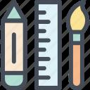 art, brush, office, pencil, ruler, supplies, table
