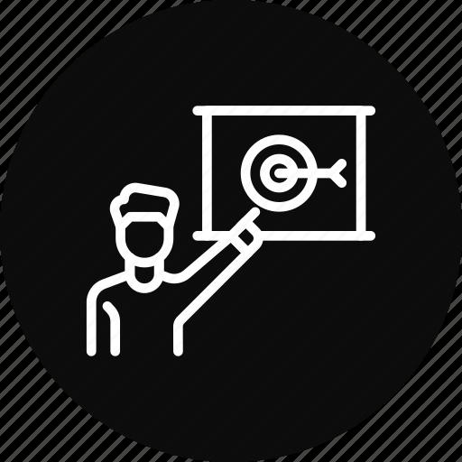 achieve, employee, goal, milestone, target icon