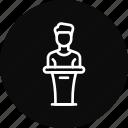 host, man, podium, presentation, speaker