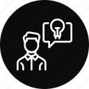 communication, creative, employee, idea, thinking icon