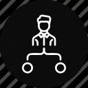 chart, diagram, employee, flow, task icon
