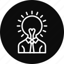 creative, head, idea, light, thinking