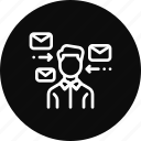 employee, feedback, help, mail, message, send, support icon