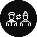 employee, office, policy, switch, transfer icon