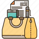 bag, briefcase, document, office, working