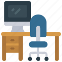 desk, back, view, workplace, backview, workspace icon
