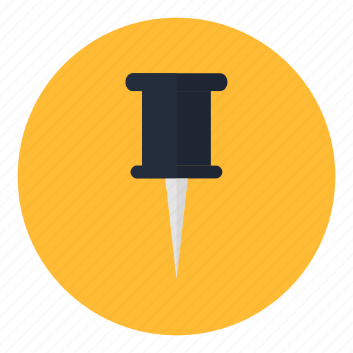 attach, office, paper, pushpin, stationery, thumbtack, utensile icon