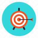 achievement, aim, arrow, business, direction, goal, target icon