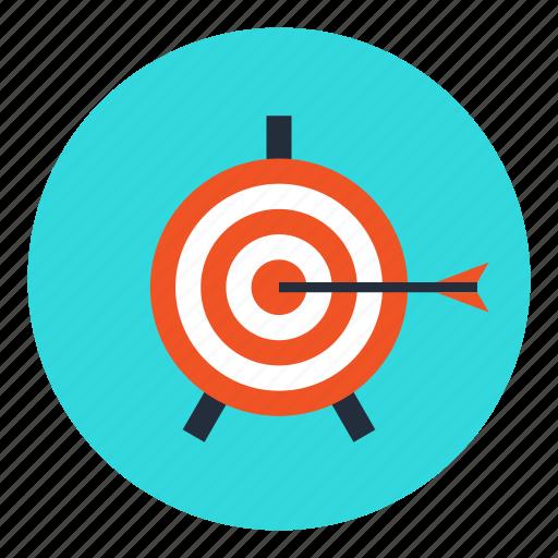 achievement, aim, arrow, business, direction, goal, target icon