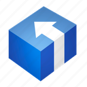 arrow, blue, box, install, package, program icon