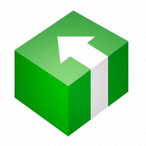 arrow, box, green, install, package, program icon