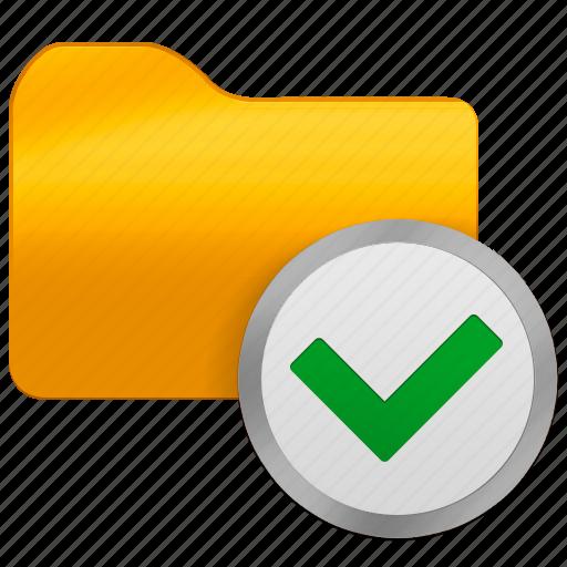 accept, folder, office, ok icon