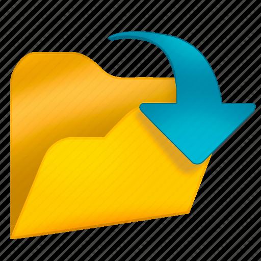 arrow, blue, folder, office, open icon
