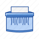 document, paper shredder, shred, shredder icon