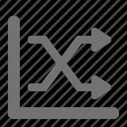 analytics, arrows, chart, crossed, diagram, graph, statistics icon