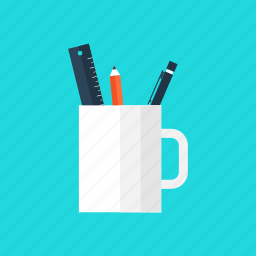education, office, pen, pencil, ruler, school, tools icon