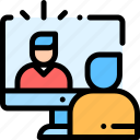 business, chat, conference, skype, video, video chat icon
