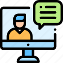 business, chat, computer, conference, office, video icon
