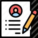 biodata, curriculum, cv, data, resume icon